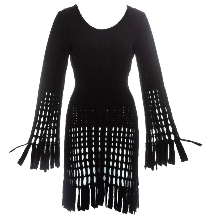 Azzedine Alaia black laser cut boiled wool fringed tunic, fw 1993 For Sale