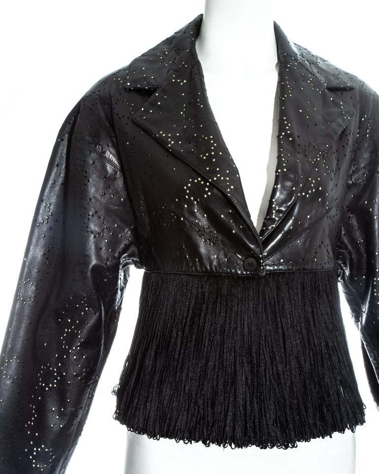 Azzedine Alaia black laser cut leather fringed jacket, ss 1988 In Excellent Condition For Sale In London, GB