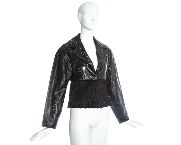 Azzedine Alaia black laser cut leather fringed jacket, ss 1988 For Sale 1