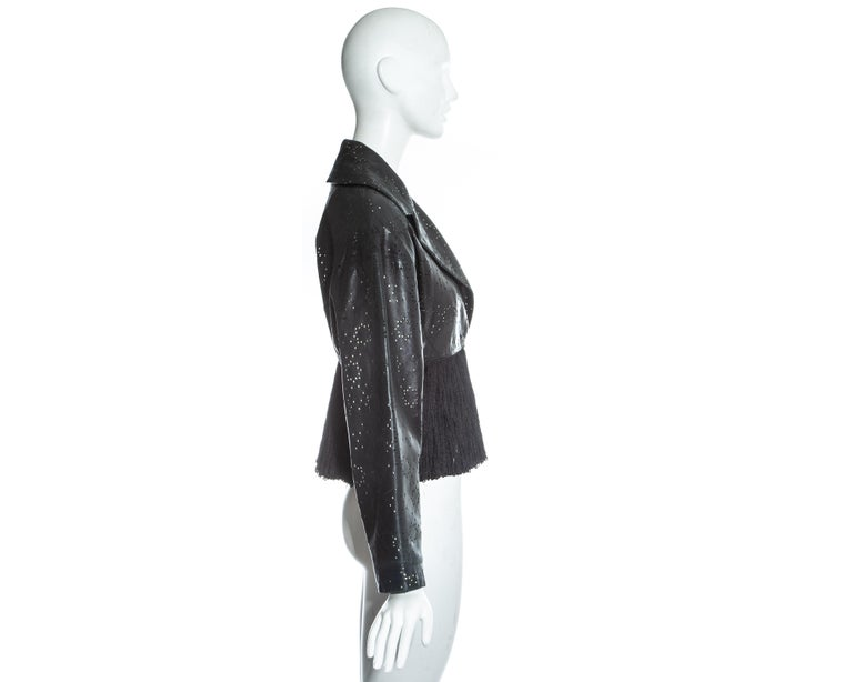 Azzedine Alaia black laser cut leather fringed jacket, ss 1988 For Sale 2