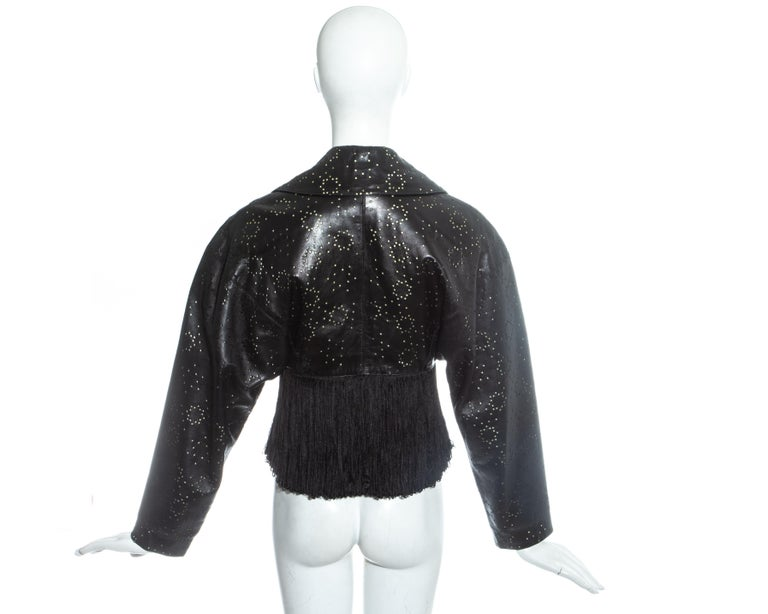 Azzedine Alaia black laser cut leather fringed jacket, ss 1988 For Sale 3