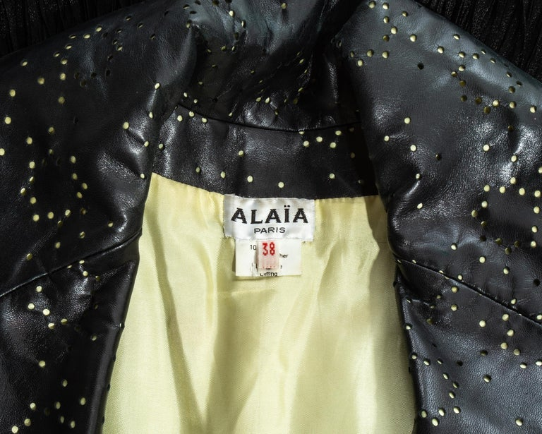 Azzedine Alaia black laser cut leather fringed jacket, ss 1988 For Sale 4
