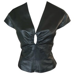 Azzedine Alaia Black Leather Cutout Top