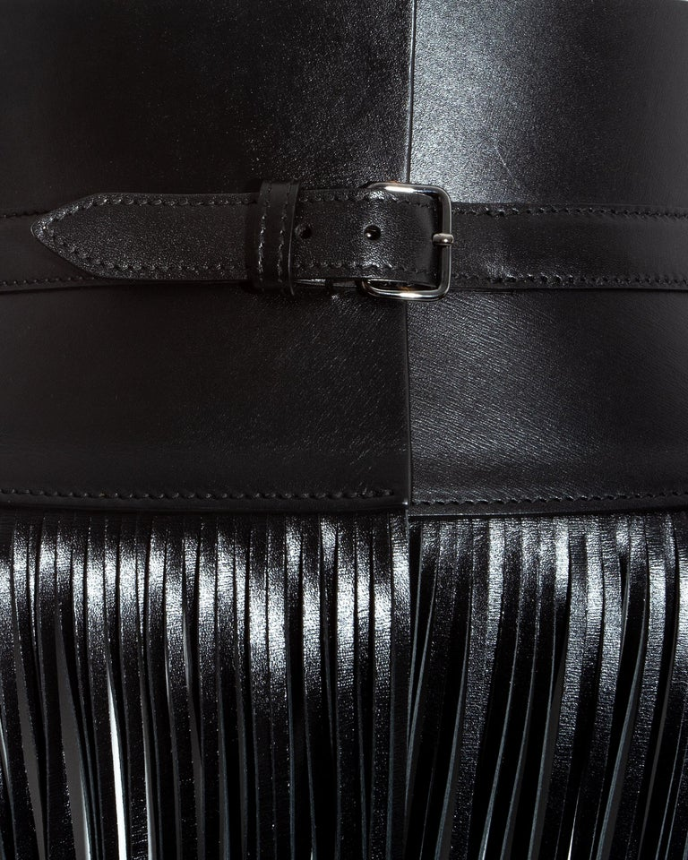 Azzedine Alaia black leather fringed corset belt In Excellent Condition For Sale In London, GB