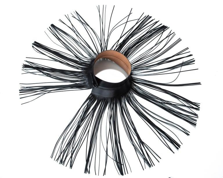 Women's Azzedine Alaia black leather fringed corset belt For Sale