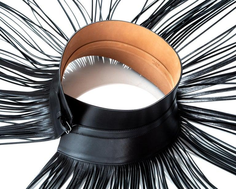 Azzedine Alaia black leather fringed corset belt For Sale 1