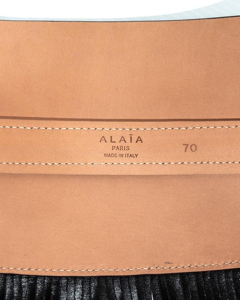 Azzedine Alaia black leather fringed corset belt For Sale 4