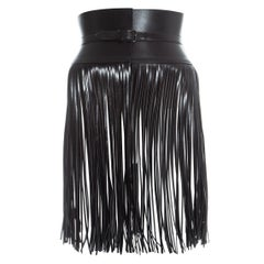 Azzedine Alaia black leather fringed corset belt
