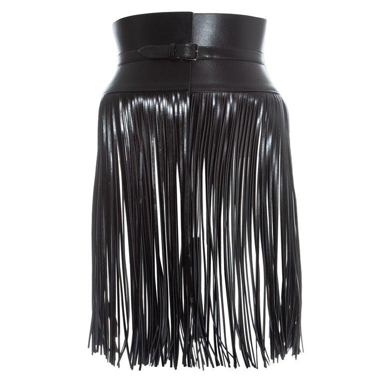 Azzedine Alaia black leather fringed corset belt For Sale