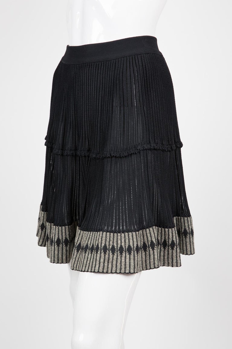 Women's  Azzedine Alaia Black Pleated Skate Skirt For Sale