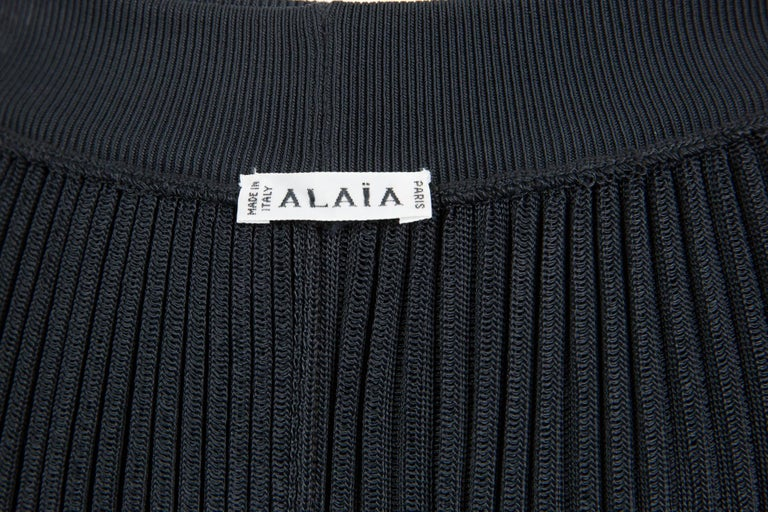 Azzedine Alaia Black Pleated Skate Skirt For Sale 1