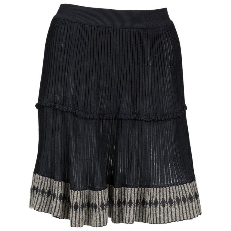 Azzedine Alaia Black Pleated Skate Skirt For Sale