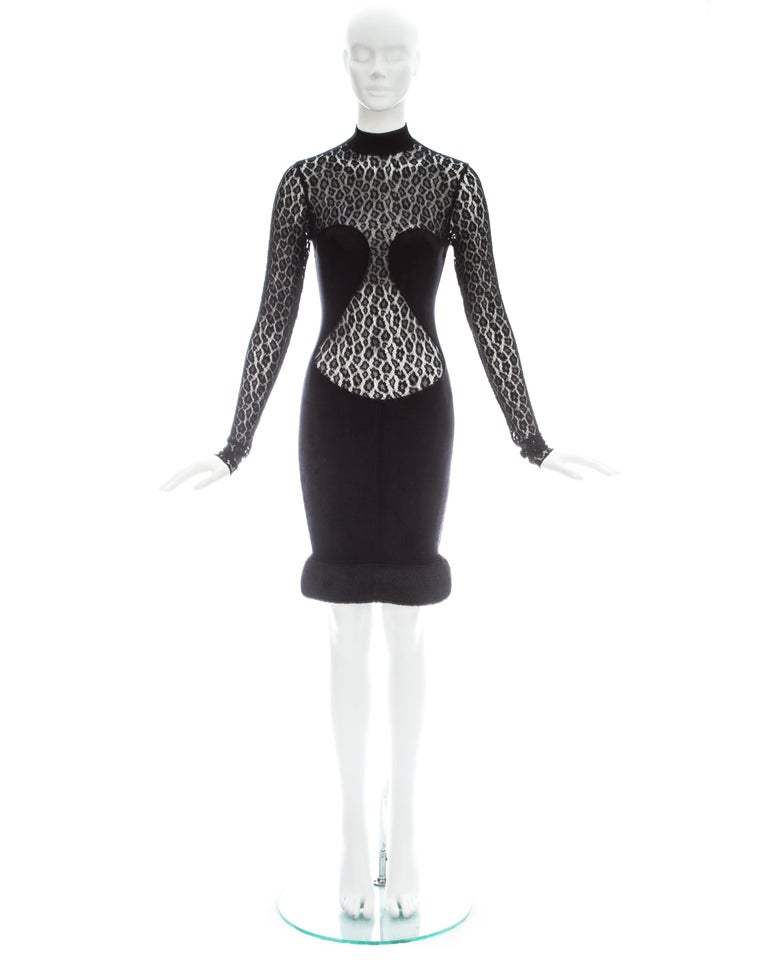 Azzedine Alaia; Black rayon figure hugging dress with leopard lace and large chenille hem   Fall-Winter 1991