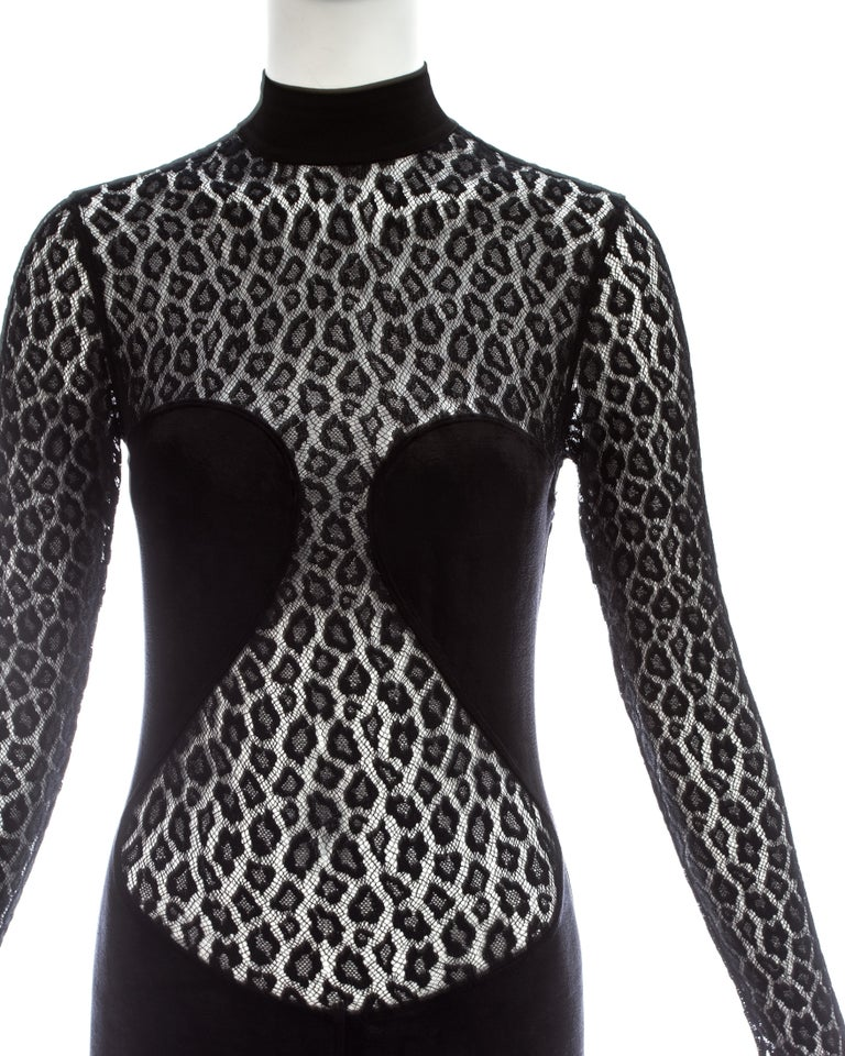 Azzedine Alaia black rayon leopard lace figure hugging dress, ca. 1991  In Good Condition For Sale In Chester, Chester