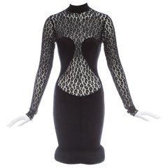 Azzedine Alaia black rayon leopard lace figure hugging dress, ca. 1991