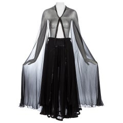 Azzedine Alaia black silk chiffon and leather cape and skirt ensemble, c. 1994