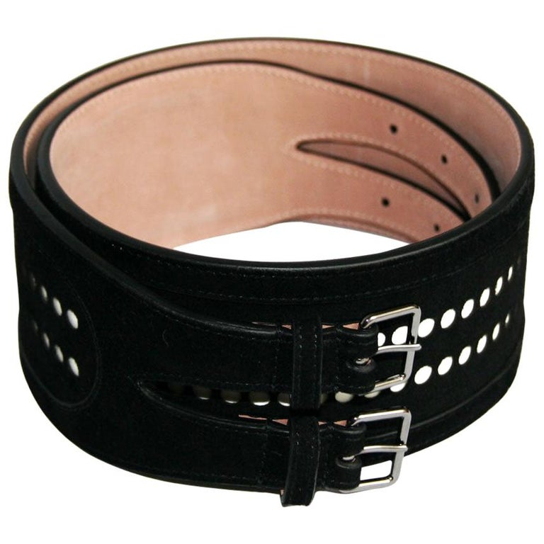AZZEDINE ALAÏA Black Velvet Calfskin Belt For Sale