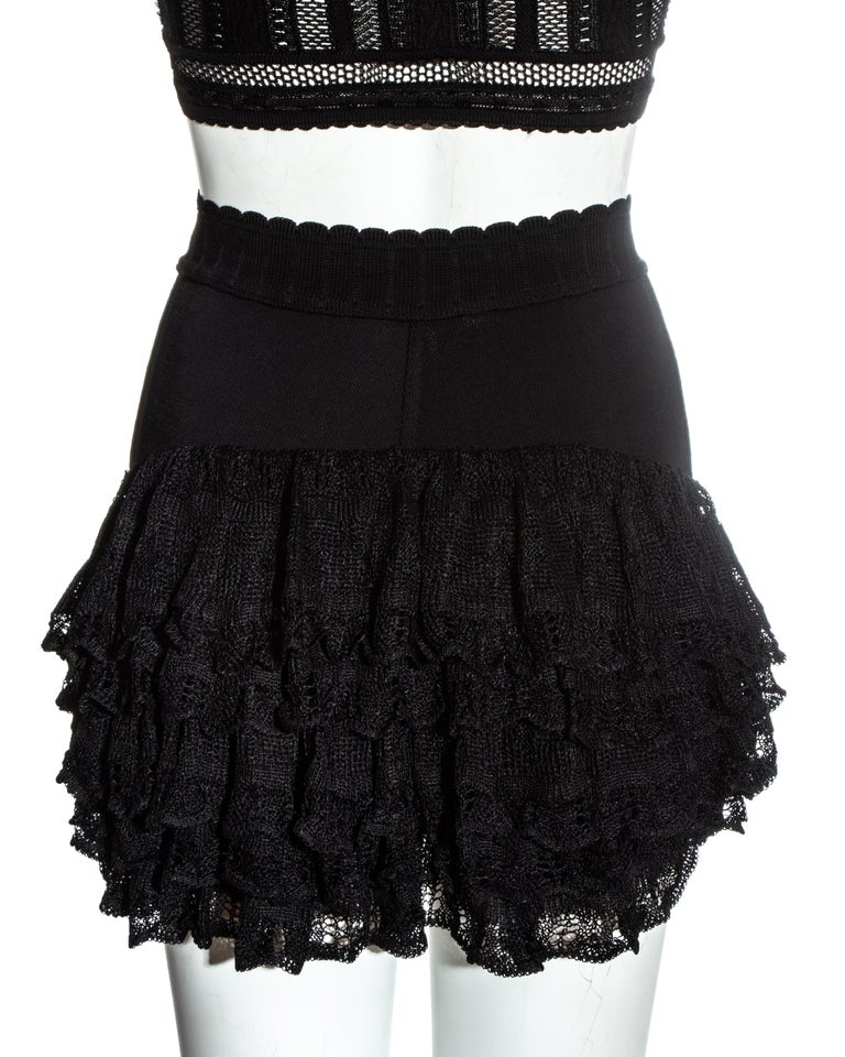 Azzedine Alaia black viscose knitted ruffled shorts and crop top set, ss 1992 For Sale 2