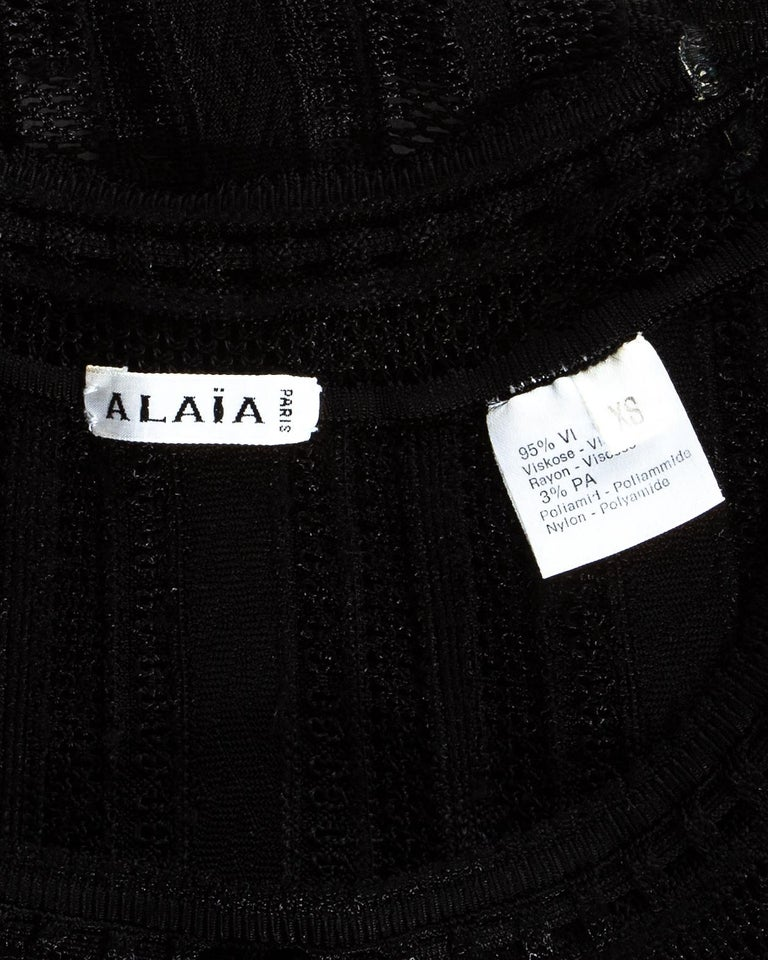 Azzedine Alaia black viscose knitted ruffled shorts and crop top set, ss 1992 For Sale 3