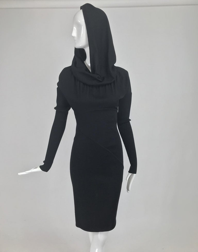 Azzedine Alaïa Black Wool Knit Hooded Body Con Dress 1980s For Sale 6