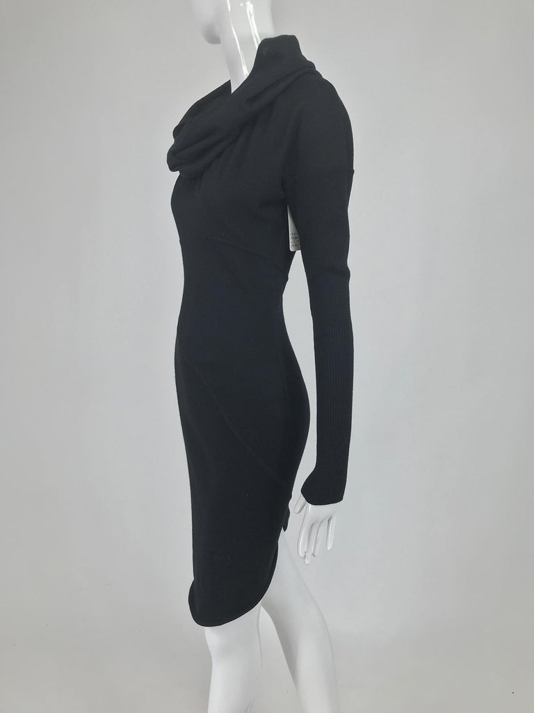 Azzedine Alaïa Black Wool Knit Hooded Body Con Dress 1980s For Sale 7