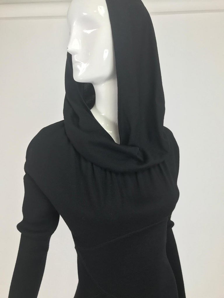 Azzedine Alaïa Black Wool Knit Hooded Body Con Dress 1980s For Sale 11