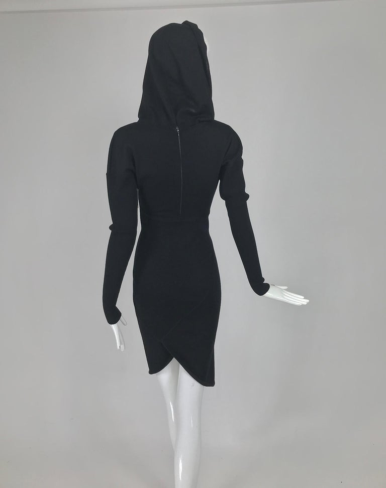 Azzedine Alaïa Black Wool Knit Hooded Body Con Dress 1980s For Sale 1