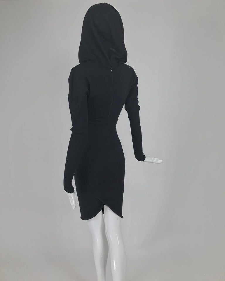 Azzedine Alaïa Black Wool Knit Hooded Body Con Dress 1980s For Sale 2