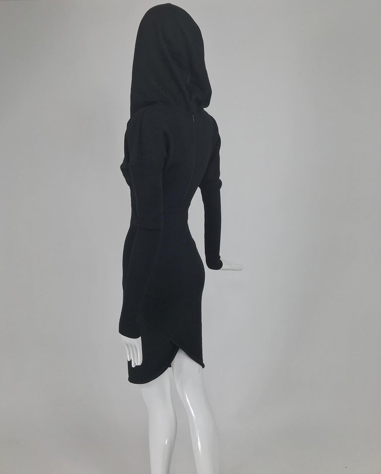 Azzedine Alaïa Black Wool Knit Hooded Body Con Dress 1980s For Sale 3