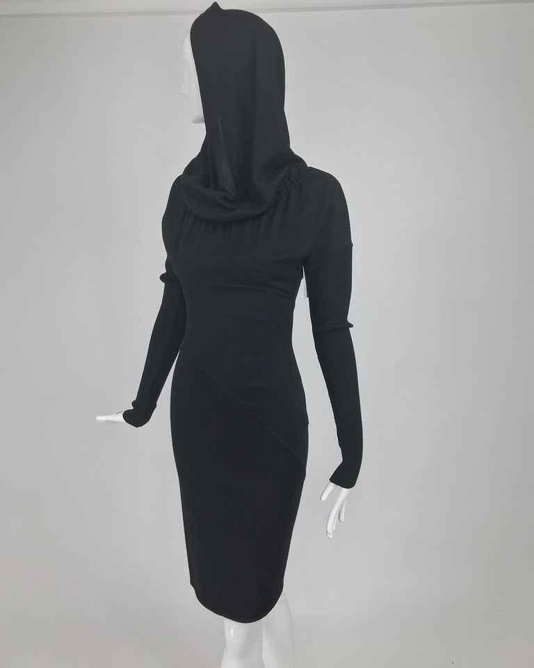 Azzedine Alaïa Black Wool Knit Hooded Body Con Dress 1980s For Sale 5