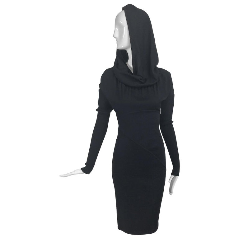 Azzedine Alaïa Black Wool Knit Hooded Body Con Dress 1980s For Sale