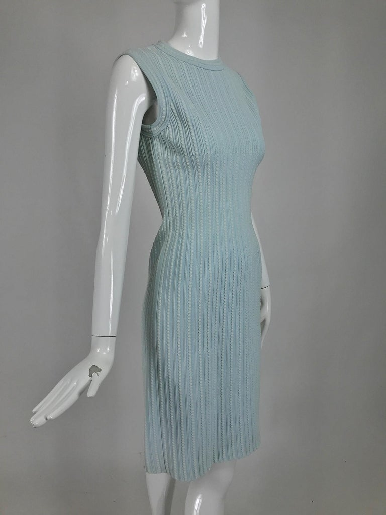 Azzedine Alaïa Blue and Cream Fitted Body Con Dress In Good Condition For Sale In West Palm Beach, FL