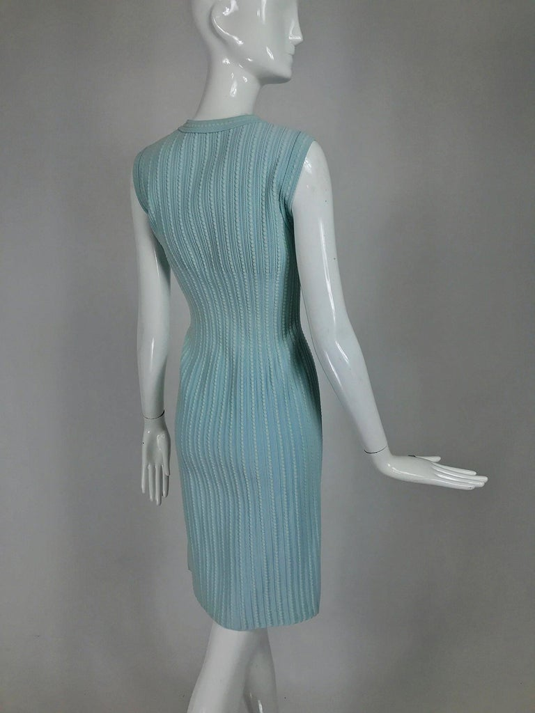 Women's  Azzedine Alaïa Blue and Cream Fitted Body Con Dress For Sale