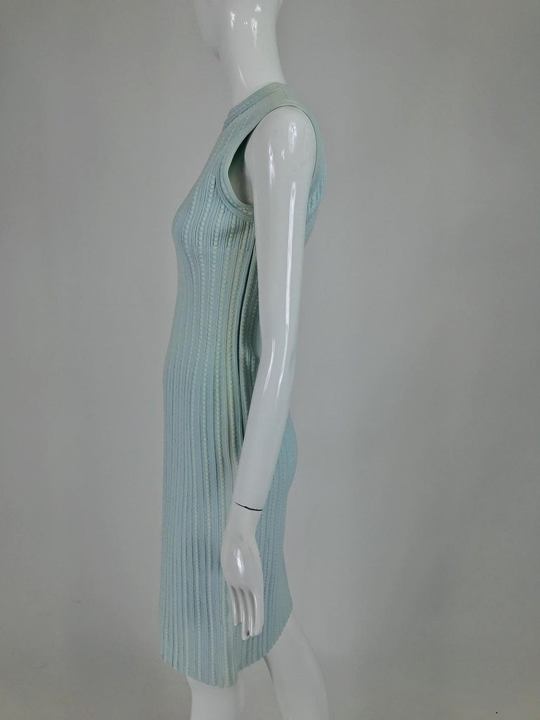 Azzedine Alaïa Blue and Cream Fitted Body Con Dress For Sale 3