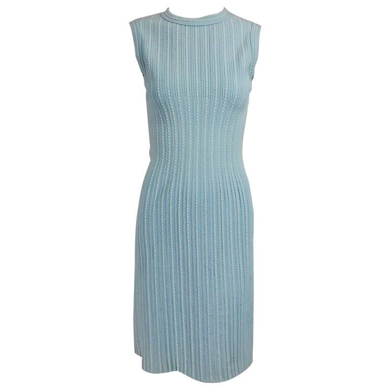 Azzedine Alaïa Blue and Cream Fitted Body Con Dress For Sale