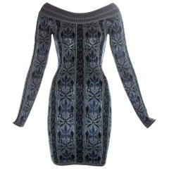 Azzedine Alaia blue knitted off shoulder mini dress, fw 1990
