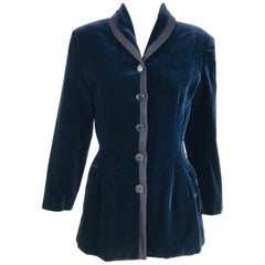 Azzedine Alaïa Blue Velvet Fitted Frock Style Jacket 1980s