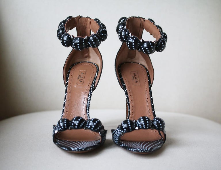Azzedine Alaïa Bombe Studded Polka-Dot Watersnake Sandals In Excellent Condition In London, GB