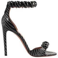 Azzedine Alaïa Bombe Studded Polka-Dot Watersnake Sandals