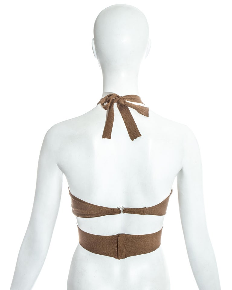 Azzedine Alaia bronze acetate knit halter cropped bra top, ss 1986 For Sale 1