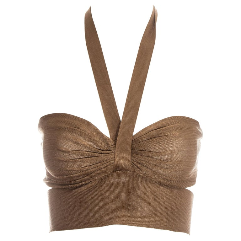 Azzedine Alaia bronze acetate knit halter cropped bra top, ss 1986 For Sale
