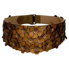 Azzedine Alaïa Bronze Leather Floral Applique Belt