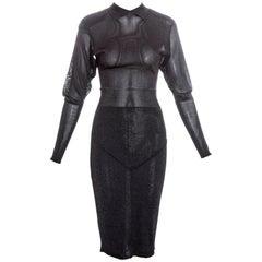 Azzedine Alaia grey acetate knit evening dress fw 1986
