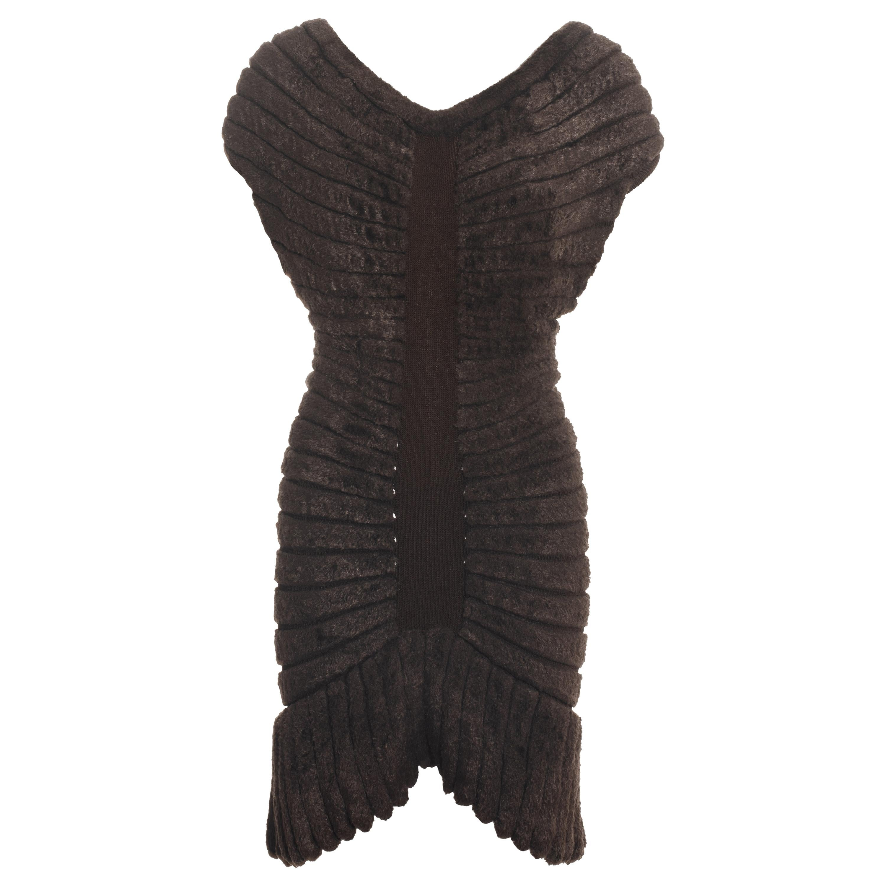 Azzedine Alaia brown chenille knitted 'houpette' mini dress, ss 1994