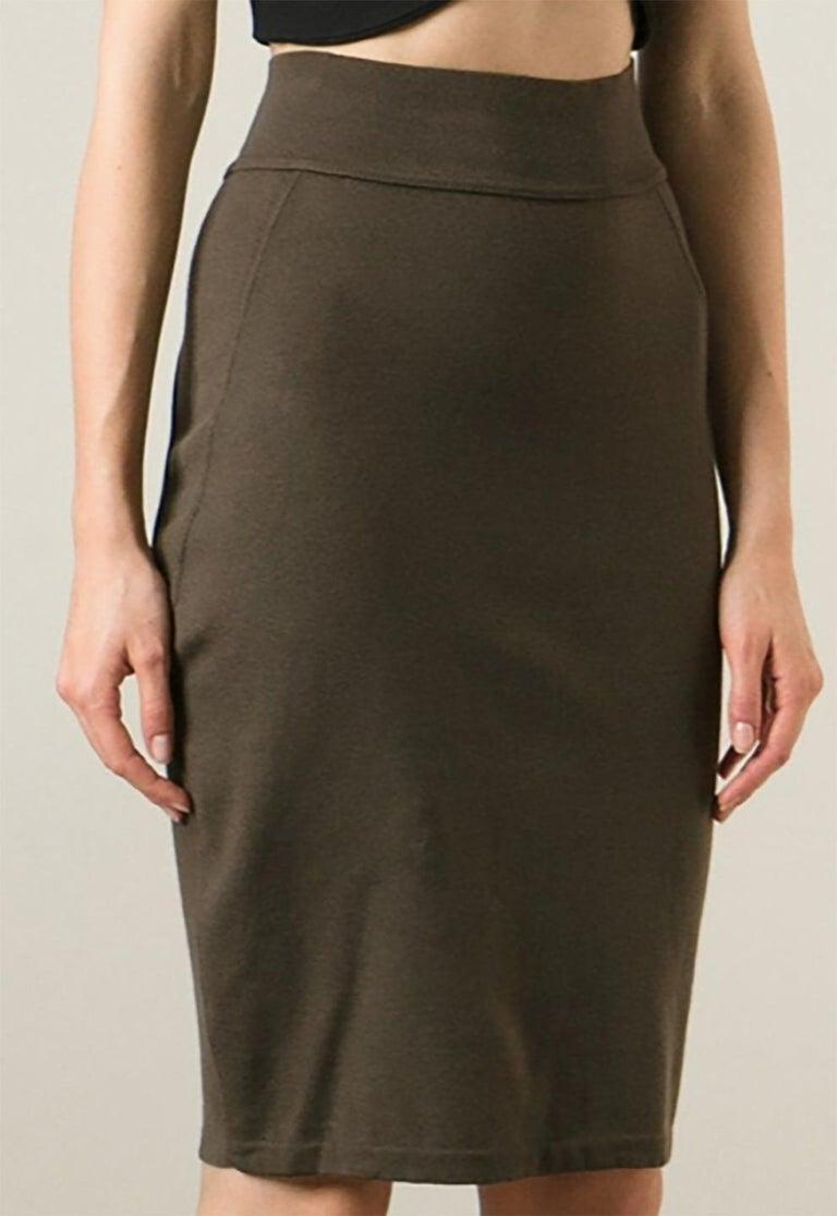 Black  Azzedine Alaia Brown Pencil Skirt For Sale