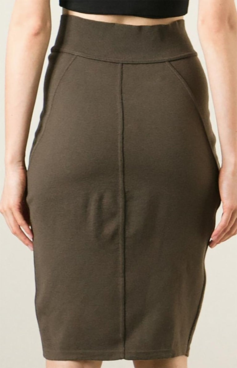 Azzedine Alaia Brown Pencil Skirt In Good Condition For Sale In Paris, FR
