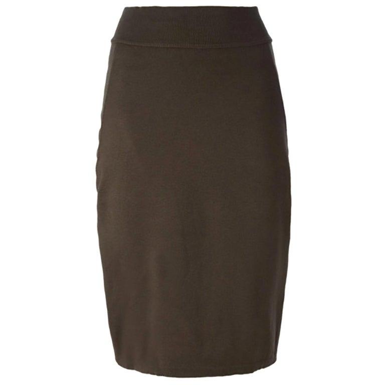 Azzedine Alaia Brown Pencil Skirt For Sale