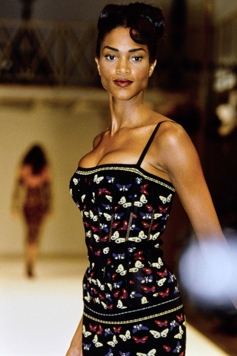 Azzedine Alaia butterfly printed corset and skirt ensemble, fw 1991 In Excellent Condition For Sale In London, GB