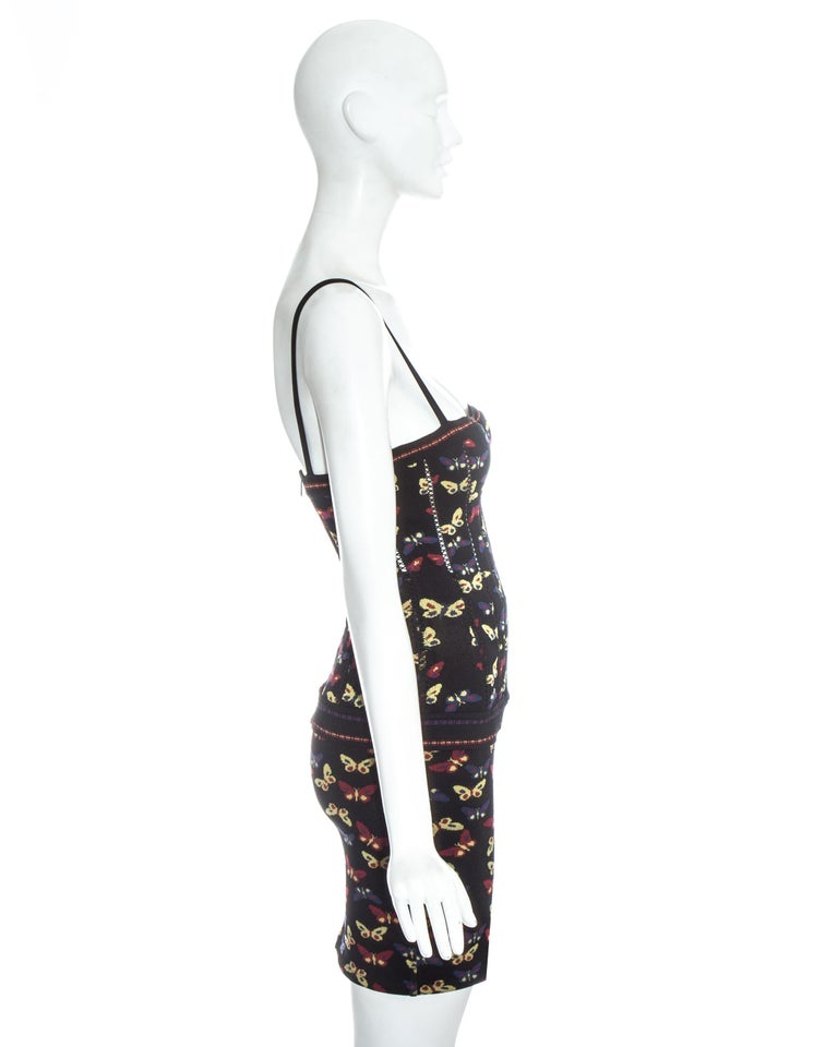 Azzedine Alaia butterfly printed corset and skirt ensemble, fw 1991 For Sale 2