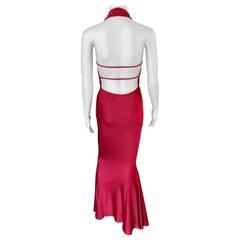 Azzedine Alaïa c. 1990's Vintage Halter Backless Red Gown Maxi Dress